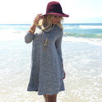 Move Along Turtleneck Fleece Dress In Grey