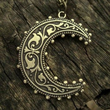 Crescent Moon Necklace - Brass