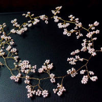 """Long Wedding Hair Vine,Tiara,Pink Cherry Blossom on gold toned wire crown,bridal, Bohemian, Pagan, Celtic,prom, 20/30"""" (50cm/76cm) Pink"""