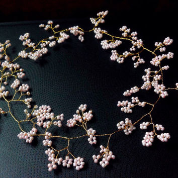 "Long Wedding Hair Vine,Tiara,Pink Cherry Blossom on gold toned wire crown,bridal, Bohemian, Pagan, Celtic,prom, 20/30"" (50cm/76cm) Pink"