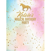 Custom Birthday Backdrop Unicorn Gold Stars Party Background (ANY TEXT) Weddings, Bridal Shower, Baby Shower - C0187