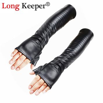 2016 Ladies Leather Gloves Fingerless Long Gloves Women Winter Luvas Black Party Mittens 50cm Elbow Long Sleeves Guante M197