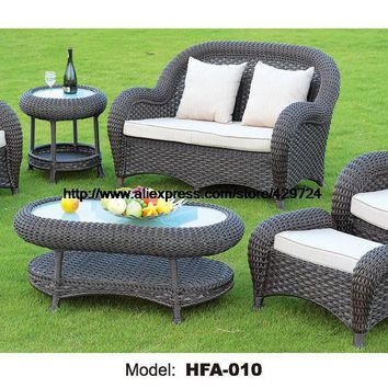 Luxury Rattan Furniture Handmake Cane Outdoor Garden Sofa Set Outdoor Table Chair Sofa Ottoman 2016 Hot Sale Classic Sofa
