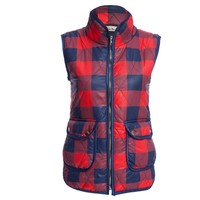Stand Collar Plaid Print Zippered Women Down Vest