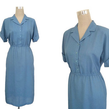 1960's Shirt Dress - 60's Dress - Powder Blue Day Dress - Hitchcock Heroines Dress