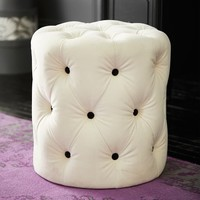 Ivory Tufted Velvet Stool