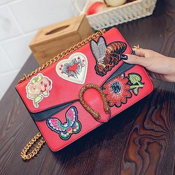 Popular Ladies Contrast Color Embroidery Vintage Small Square Bag Metal Chain Satchel Shoulder Bag Crossbody Red