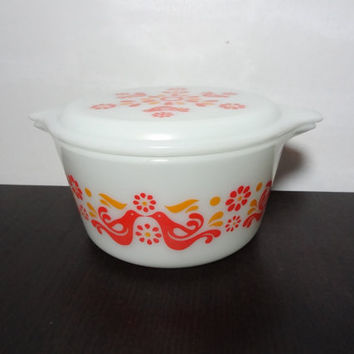 Vintage Pyrex 473 Friendship Covered 1qt Casserole/Serving/Baking Dish