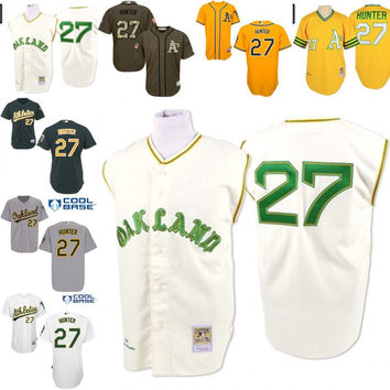 Cream gold white grey 1968 Throwback Catfish Hunter Authentic Jersey , Men's #27 Mitchell And Ness Oakland Athletics