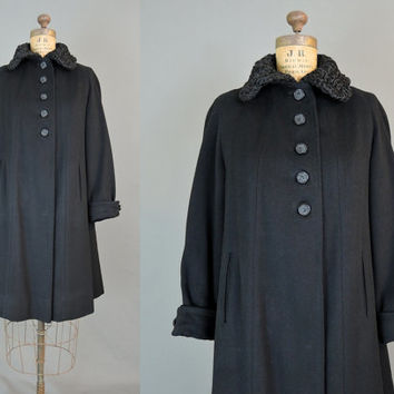 Vintage 1940s Black Wool Heavy Winter Coat with Persian Lamb Fur Collar - Deb-Towne, fits 36 inch bust, medium