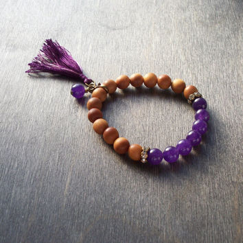 Mala style stretch bracelet, purple Amethyst semi precious beads and Sandal wood beads, tassel jewellery, stacking bracelet, Boho hippy