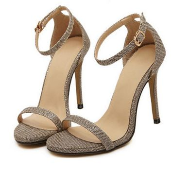 Fashion Summer Women Open Toed Stripe Contracted Heel Strap Sandals Golden