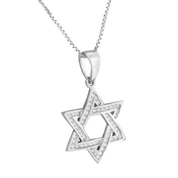 Star Of David Pendant Necklace Set Sterling Silver Chain Charm Simulated Diamond