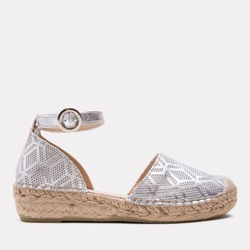 Ingrid Metallic Perf Leather Espadrille (Silver)
