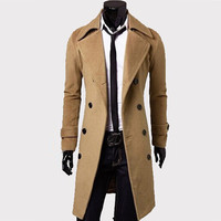Men'S Trench Coat Men Classic Double Breasted Trench Coat Masculino Clothing Long Thick Jackets Coats British Style Overcoat 4XL