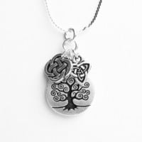 Celtic Tree of Life Necklace - with Celtic Quarternary Knot Charm and Celtic Trinity Knot Charm - on Sterling Silver Chain