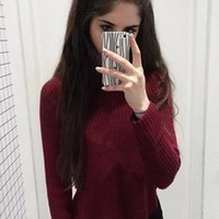 New Women Plain Round Neck Streetwear Cotton Pullover Sweater