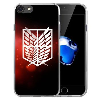 Cool Attack on Titan Anime Japanese  Soft Transparent Silicone Full Protective case Cover For iPhone X 8 7 7Plus 6 6S Plus 5 5S SE AT_90_11