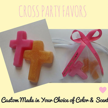 Cross Soap Party Favors - Baby Shower, Christening or Baptism Gift for Guests Custom Made Choice of Color & Scent Bath  - Pack of 25
