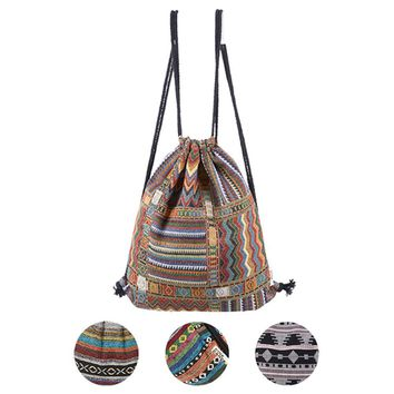 Women Vintage Backpack Gypsy Bohemian Boho Chic Hippie Aztec Folk Tribal Woven String Bolsas sac a main Drawstring Rucksack Bag