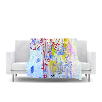 "Marianna Tankelevich ""Composition with Bunnies in Blue"" Abstract Rabbits Fleece Throw Blanket"
