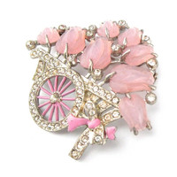 Flower Cart Brooch Rhinestone Pink