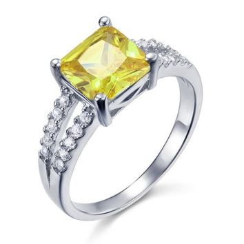 Yellow Canary Colour 2 Carat Created Diamond Sterling Silver 925 Ring