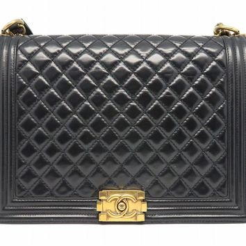 Chanel Quilted Calfskin Leather GHW Chain Shoulder Bag Black