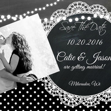 4x6 Weding Save the Date Rockabilly polka dot red black white tattoo lace chalkboard card and photo  printable invitation