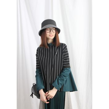(Korean) Vertical Striped Jersey Top With Contrast Shirt Back & Sleeves