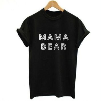 PEAPJ1A Fashion hollow T - shirt Mama Bear