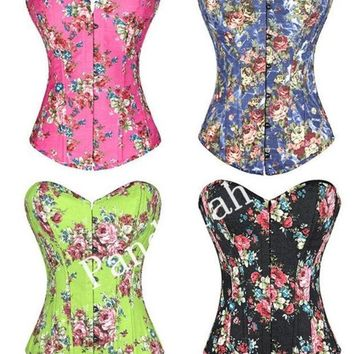 Pandolah Hot Selling Overbust Corsets Boned Bustiers Floral Print Women Sexy Lingerie 4 Colors S  Xxl = 1929975876
