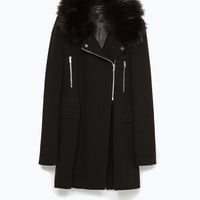 Zipped fur coat