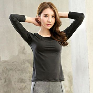 DCCKFS2 women yoga sports T-shirt Professional workout  breathable fitness shirt long-sleeved top clothing
