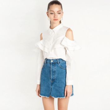 Apparel White Sexy Women Tops Ruffles Off-Shoulder Chic Blouse Elegant Casual Cut Out Turn-down Collar Shirts