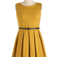 'Tis a Shift to Be Simple Dress in Mustard | Mod Retro Vintage Dresses | ModCloth.com
