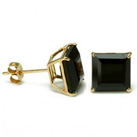 King Ice 14K Gold Black Onyx Princess Stud Earrings : Karmaloop.com - Global Concrete Culture
