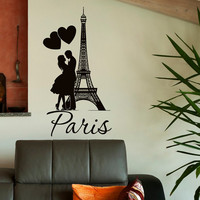 Eiffel Tower Wall Decal Paris Wall Decals Vinyl Stickers Paris Skyline Silhouette France Romantic Love Living Room Art Bedroom Decor C076