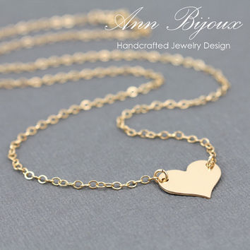 Charlize Theron Replica Heart Necklace, Gold Filled Heart Necklace, Love Charm Chain Necklace, Gold Filled Heart Chain Necklace