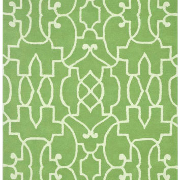 Vineyard Scroll Lime Green Rug