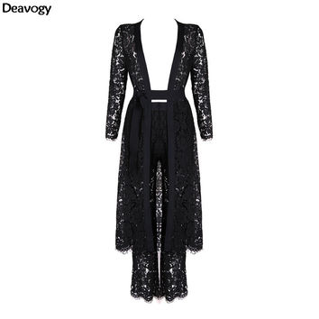 Deavogy 2016 Winter New Black Lace Long Sleeves Chic Duster Coat Casual Jacket Three Pieces Sets Hot Sale Good Quality H2684