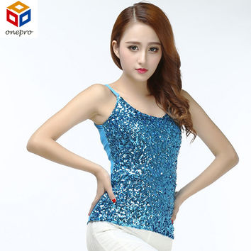 Summer Women Stage Clothing Bling Sequin Top Spaghetti Strap Night Club Tank Top Sexy Simple Clubwear V-Neck Camis