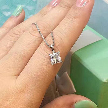 1 Ct Square Princess Cut Solitaire Pendant with Silver Chain Dainty Necklace, Man Made Diamond, 925 Silver Everyday Necklace, Birthday gift