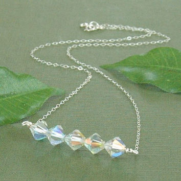 Swarovski Crystal Necklace, Silver Beaded Necklace, Crystal Bar Necklace, Fine Chain Necklace, Sterling Silver Necklace