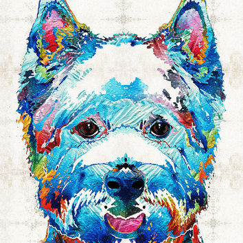 West Highland Terrier Art Colorful Dog Westie PRINT from Painting Rainbow Pet Doggie Pet Pop CANVAS Ready To Hang Large Fun Cute Love Animal