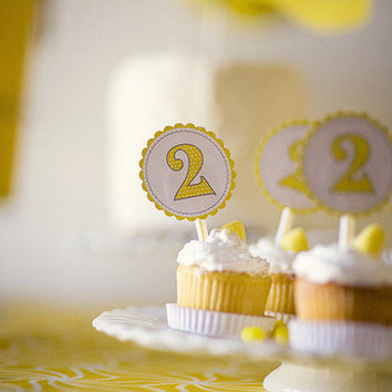 24 Yellow Polka Dot Custom CUPCAKE toppers Party by partypapers