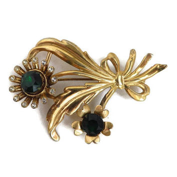 Rhinestone Bouquet Brooch - Vintage Green White Rhinestone Gold Tone Floral Pin, Gift for Her, Gift Boxed