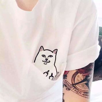 Alien Middle Finger Cat Pocket T Shirt Women Ulzzang Kyliejenner Instagram Tumblr Vegan Unicornio BTS Kpop Tee Top Clothing