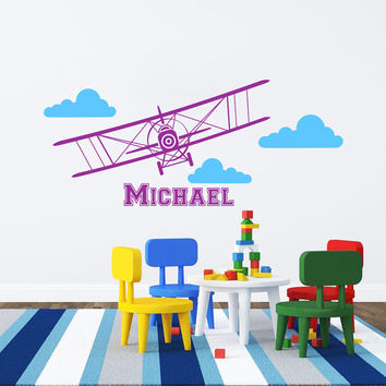 Airplane Wall Decal Name Vinyl Sticker Personalized Custom Name Biplane Clouds Decals Plane Kids Children Name Nursery Boys Room Decor AN600