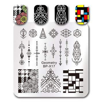 Geometry Figure Nail Stamping Plates Flower Wedding Square Template 7 Patterns 6*6cm Stamp Image Plate BP-X17~23